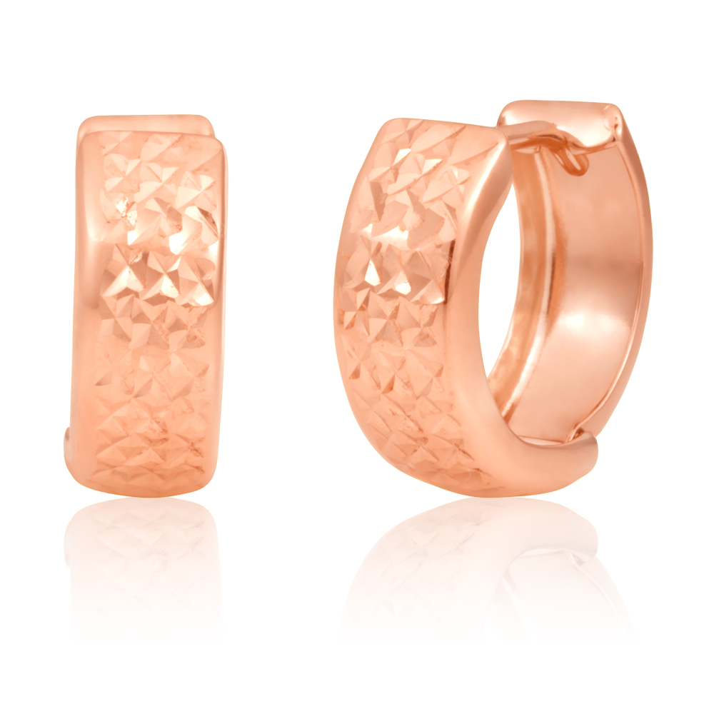 9ct Rose Gold 10mm Huggies Earrrings