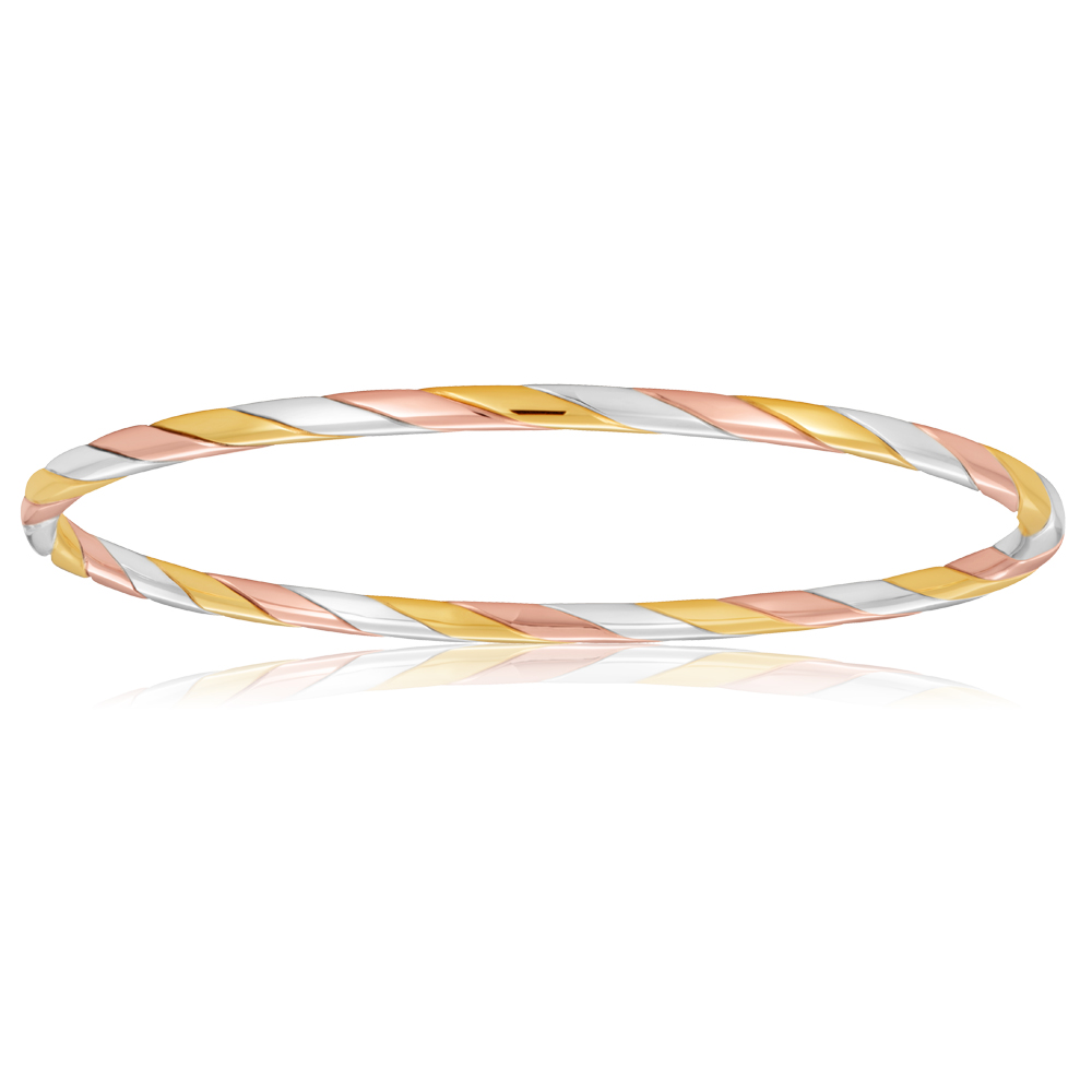 9ct Three Tone 65mm Twist Bangle