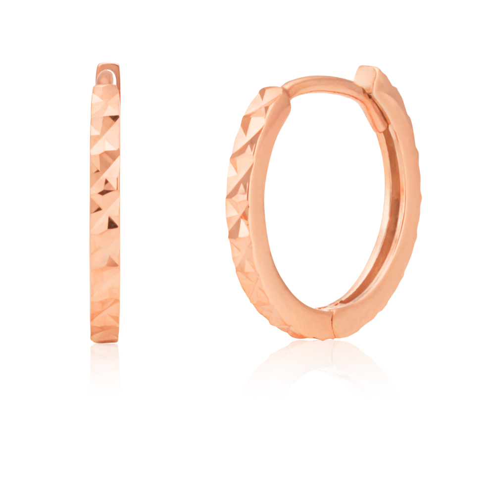 9ct Rose Gold Double Sided 10.5mm Diamond Cut Hoop