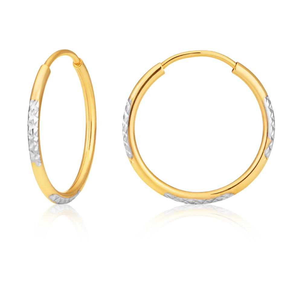 9ct Two Tone Double Sided Diamond Cut 15mm Hoop Earrings