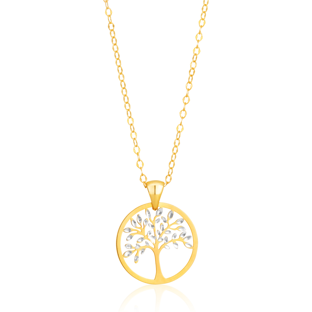 9ct Dicut 20mm Tree Of Life Pendant on 45cm Cable Chain 9Y