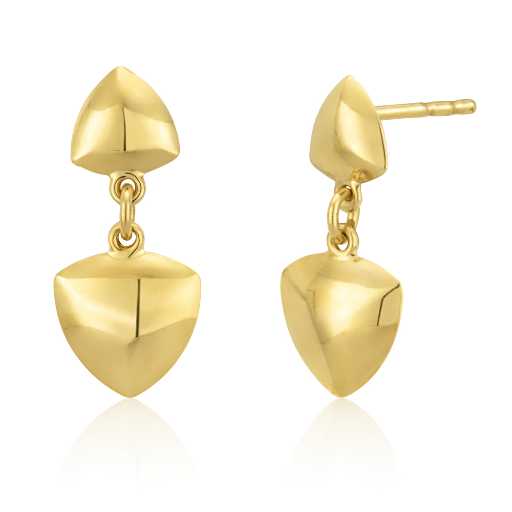 9ct Yellow Gold Stud Drop Earrings