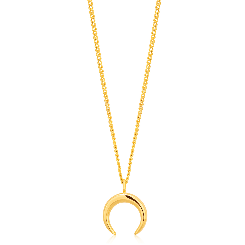 9ct Yellow Gold Crescent Moon Pendant