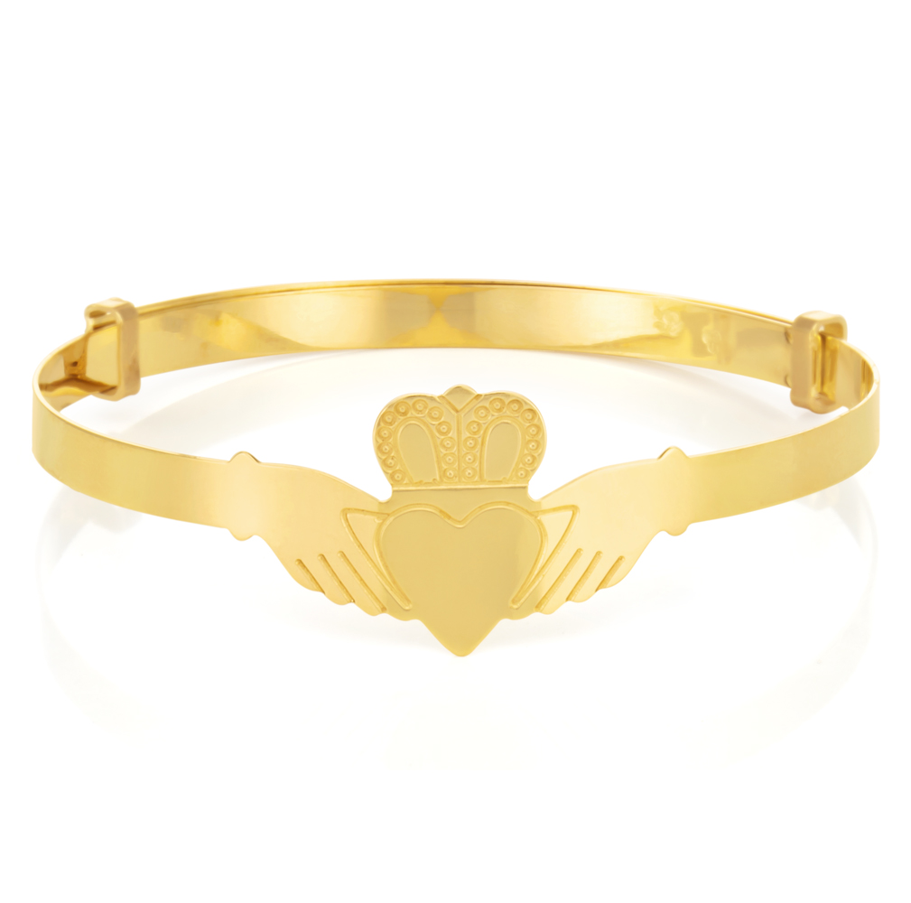 9ct Yellow Gold Expandable Claddagh Baby Bangle