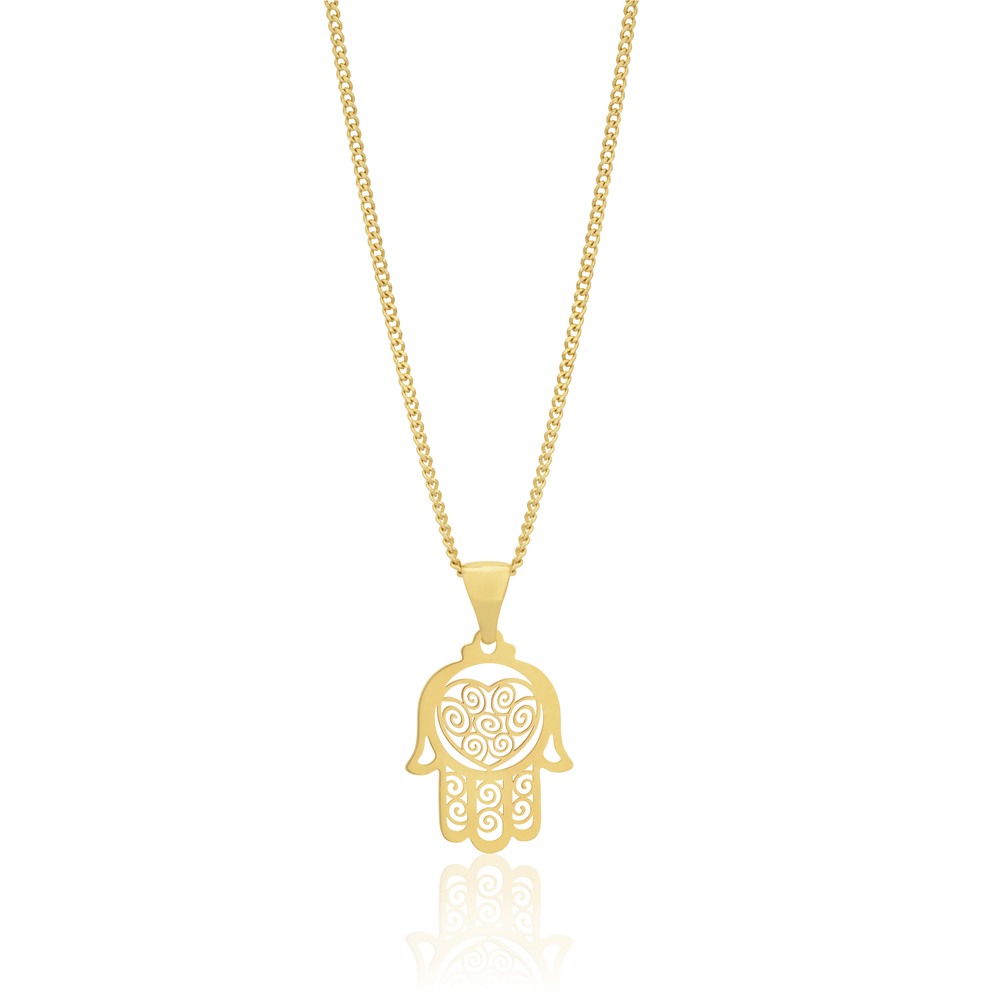 9ct Yellow Gold Hamsa Hand Pendant