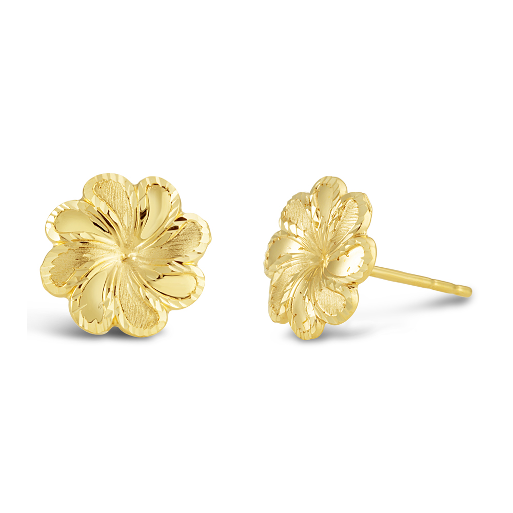 9ct Yellow Gold Small Flower Stud Earrings