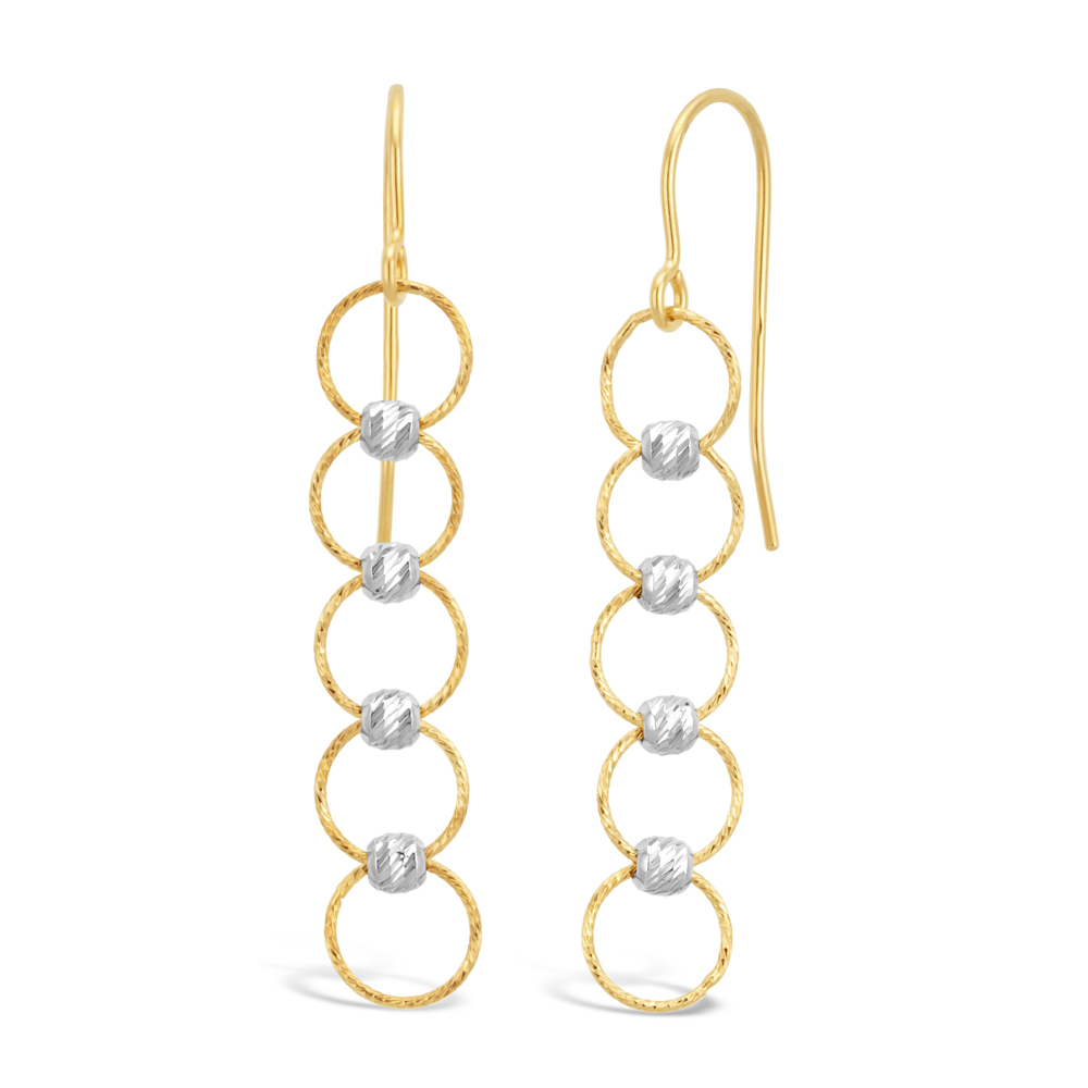 9ct Two-Tone 5x Circle Beaded Drop Hook Earrings
