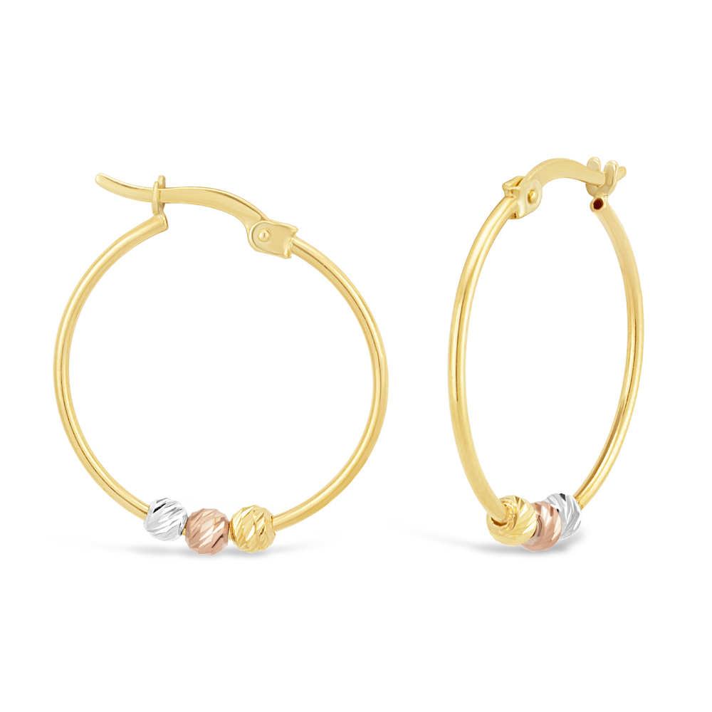 9ct Three-Tone Gold Diamond Cut Beaded Hoop Earrings