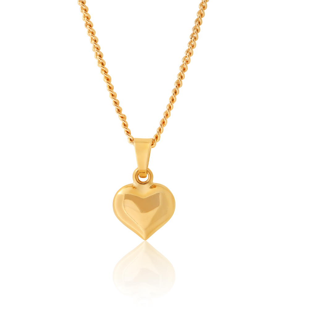9ct Yellow Gold Small Plain Heart Pendant
