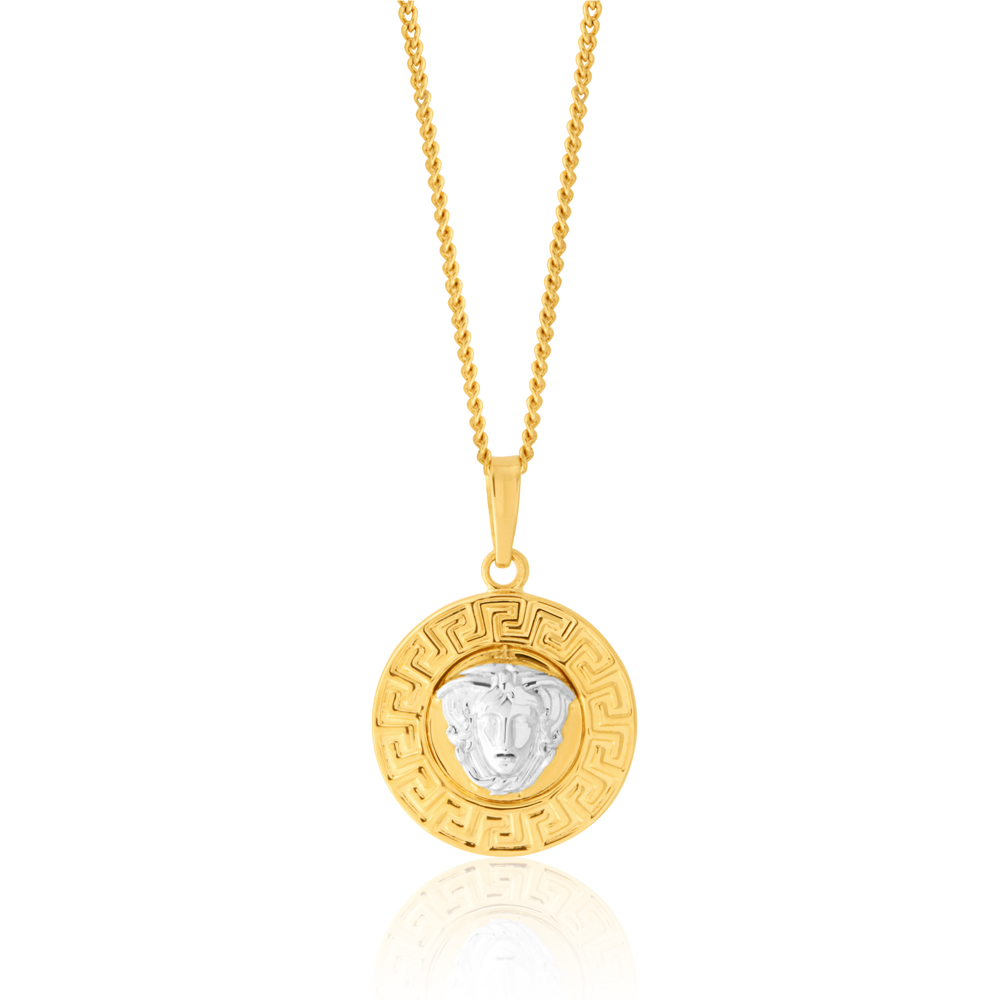 9ct Two-Tone Gold Medusa Greek Key Pendant
