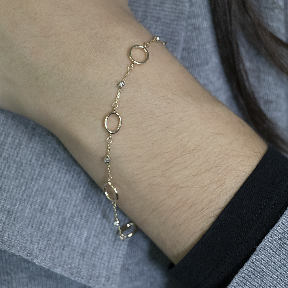 9ct Three-Tone Open Rings and Beads 19cm Bracelet