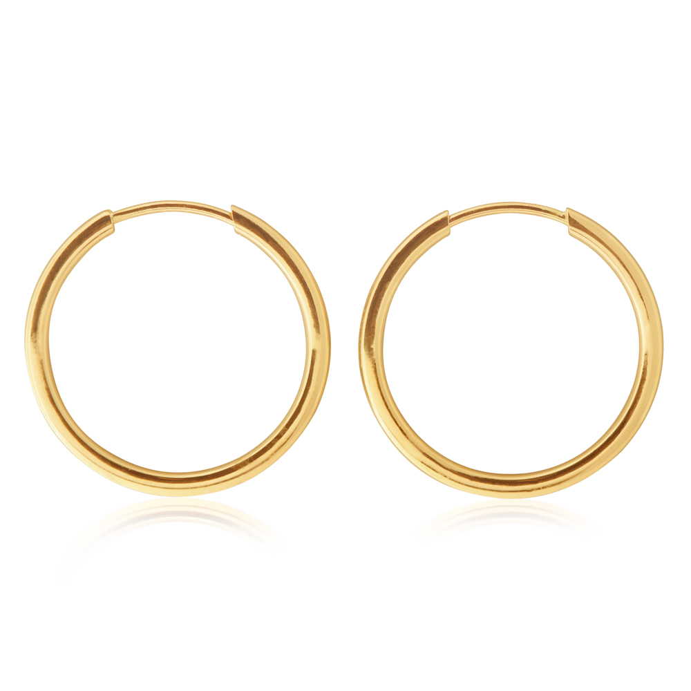9ct Yellow Gold 16mm Plain Sleeper Earrings