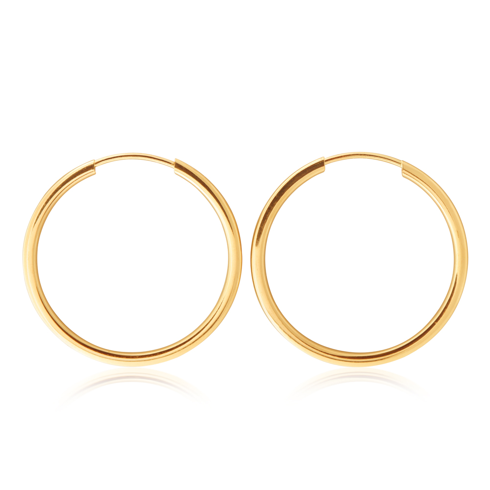 9ct Yellow Gold 20mm Plain Sleeper Earrings