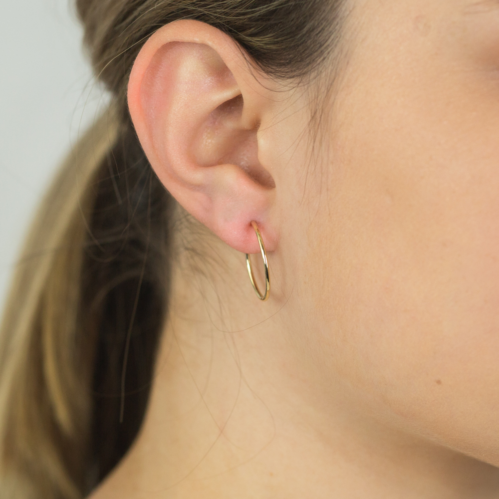 9ct Yellow Gold 20mm Plain Sleeper Earrings