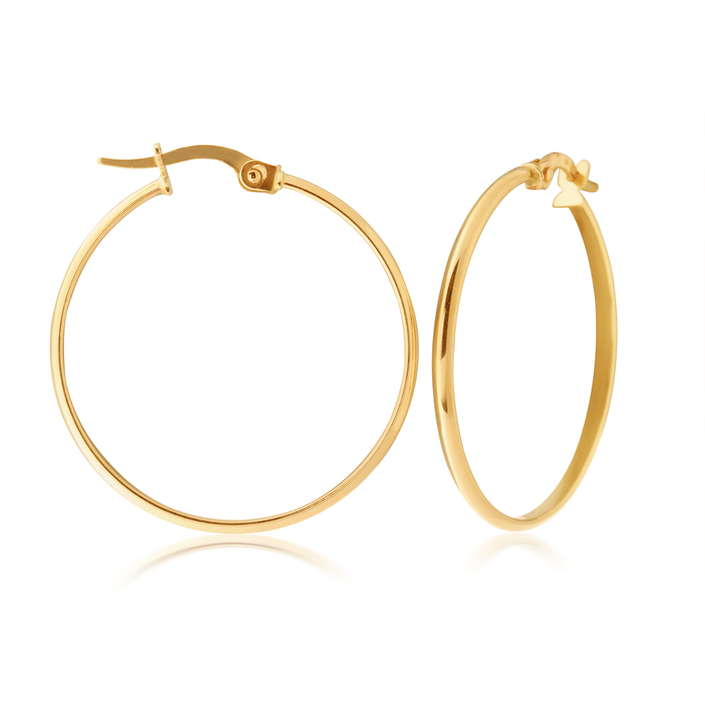 9ct Yellow Gold 25mm Plain Hoop Earrings