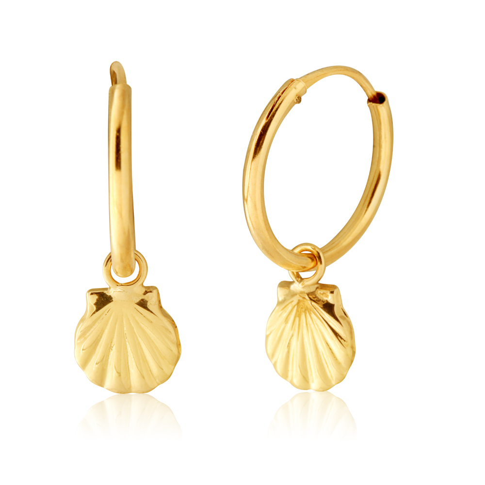 9ct Yellow Gold Scallop Shell Hinged Hoop Earrings