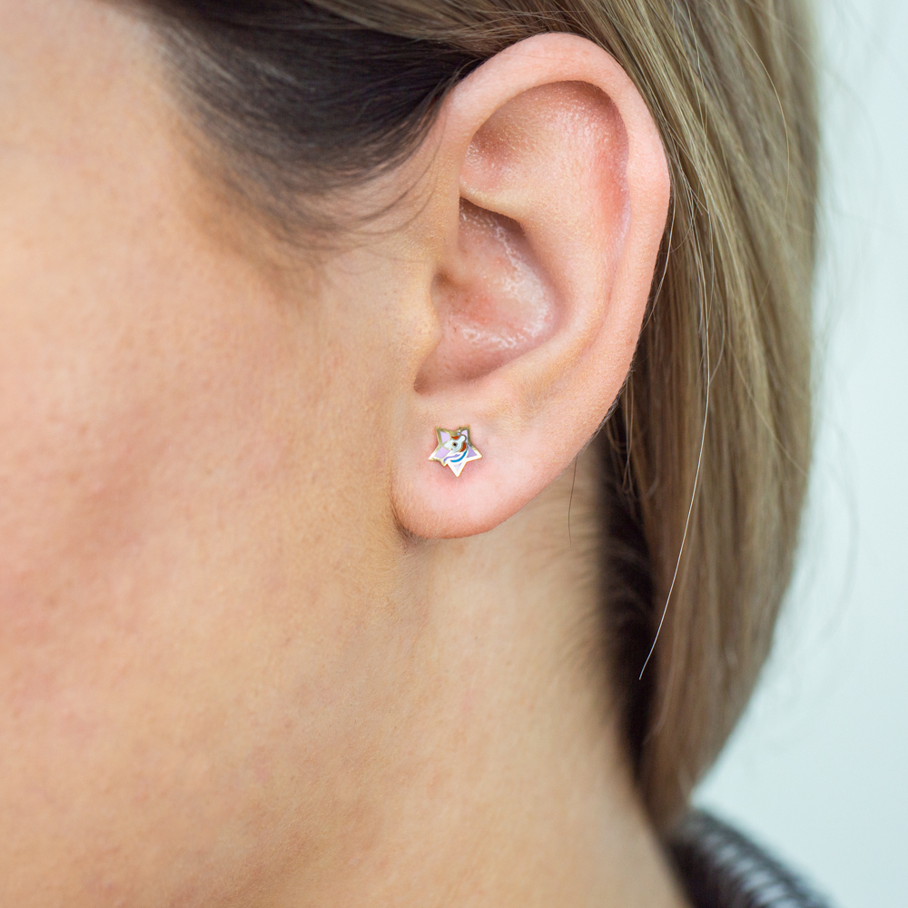 9ct Yellow Gold Lacquerized Star Stud Earrings