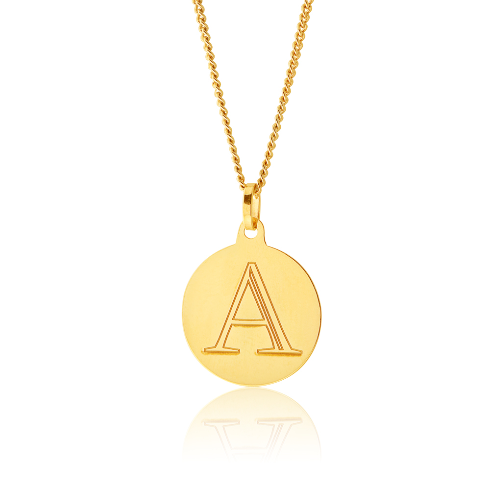 9ct Yellow Gold Charm with  Letter A Pendant