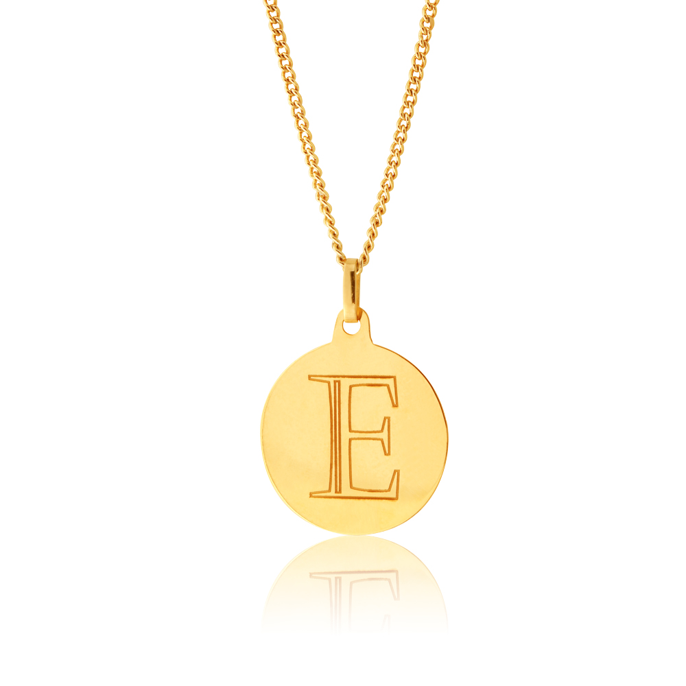 9ct Yellow Gold Charm With Letter E Pendant