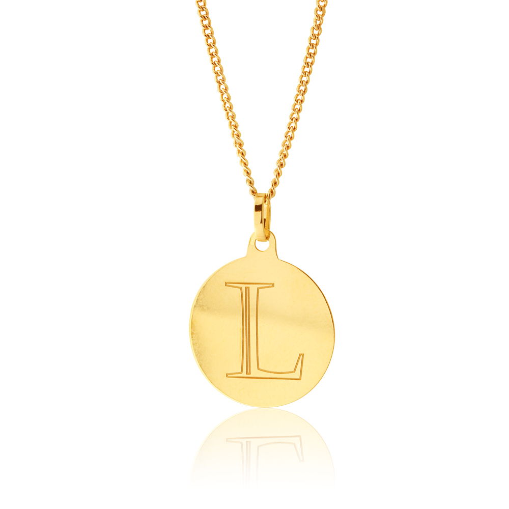 """9ct Yellow Gold Charm With Initial """"L"""" Pendant"""