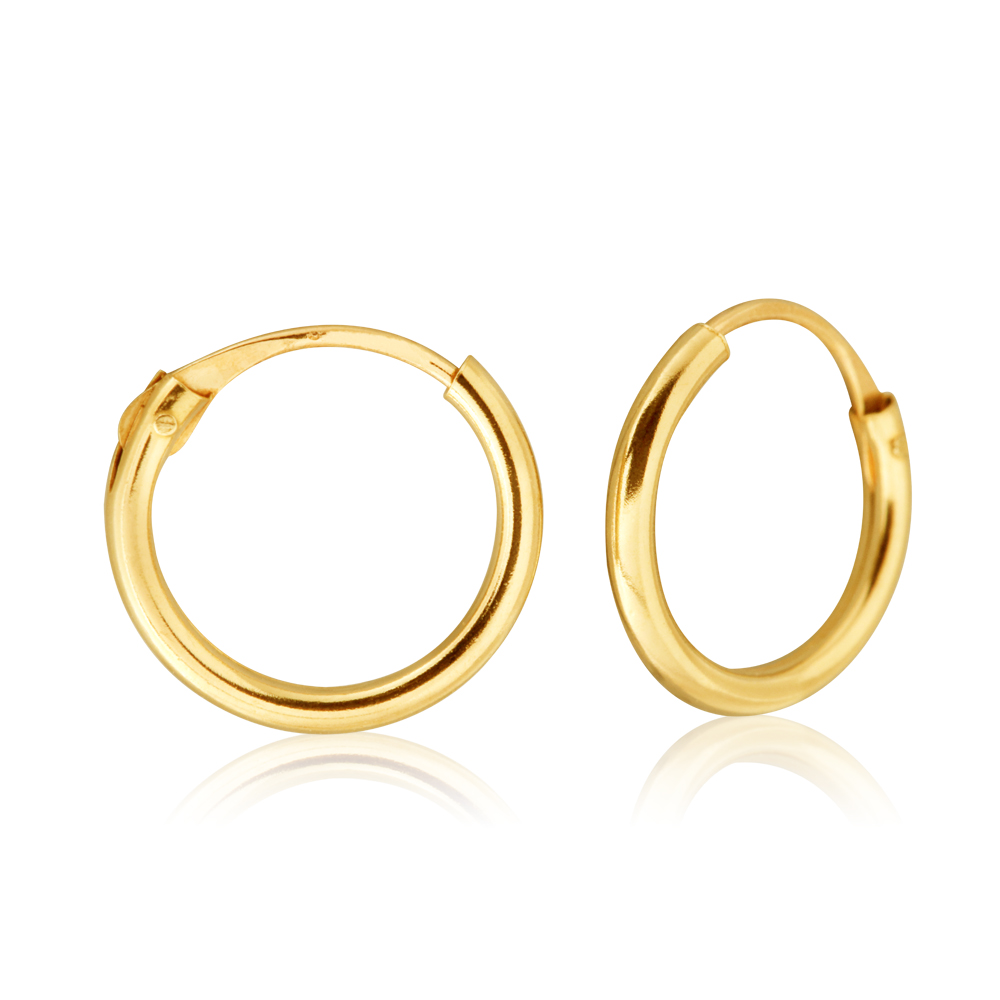 9ct Yellow Gold 1.2x9mm Hinged Hoop Earrings