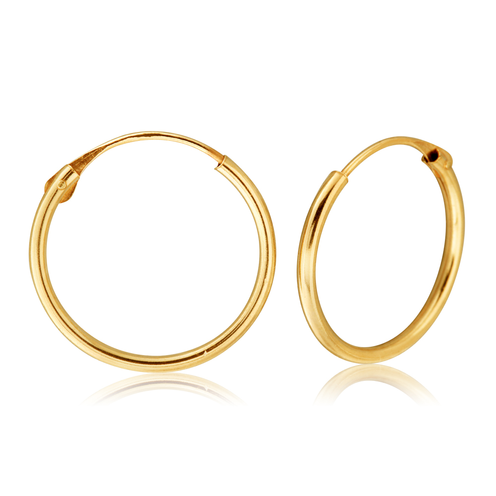 9ct Yellow Gold 1.2x14mm Hinged Hoop Earrings