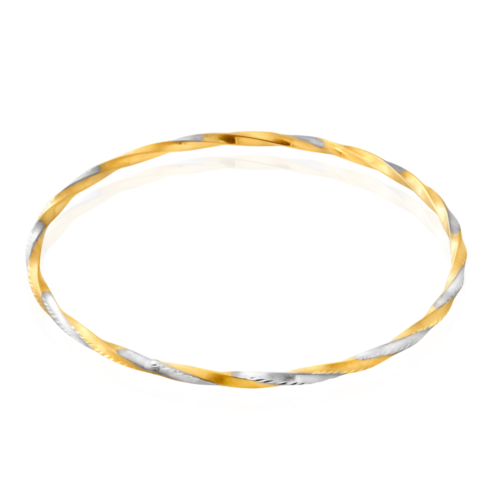 9ct Yellow and White Gold Diamond Cut Bangle