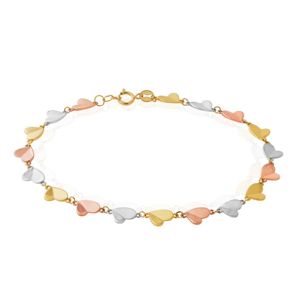 9ct Multi Tone Heart Link 19cm Bracelet