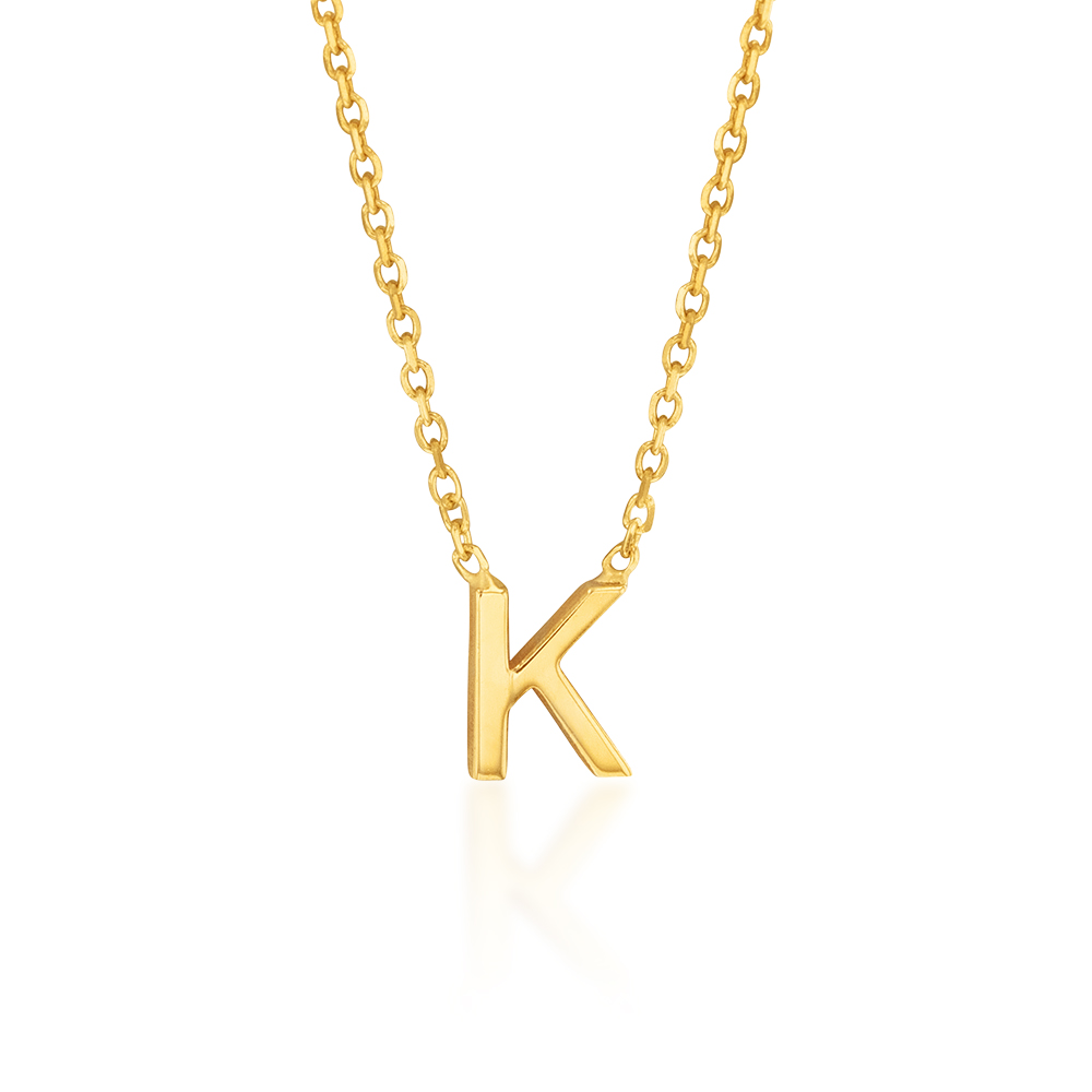 """9ct Yellow Gold Initial """"K"""" Pendant on 43cm Chain"""