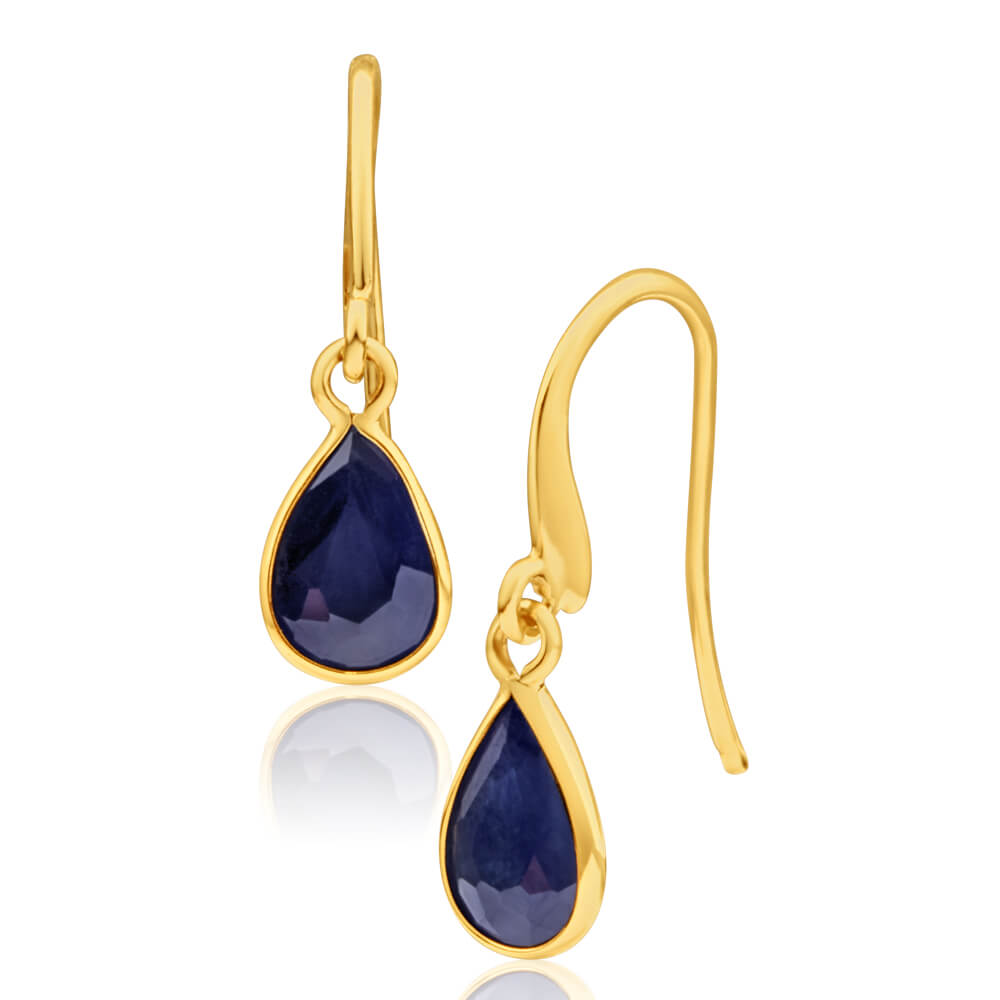 9ct Yellow Gold Natural Black Sapphire Pear Drop Earrings
