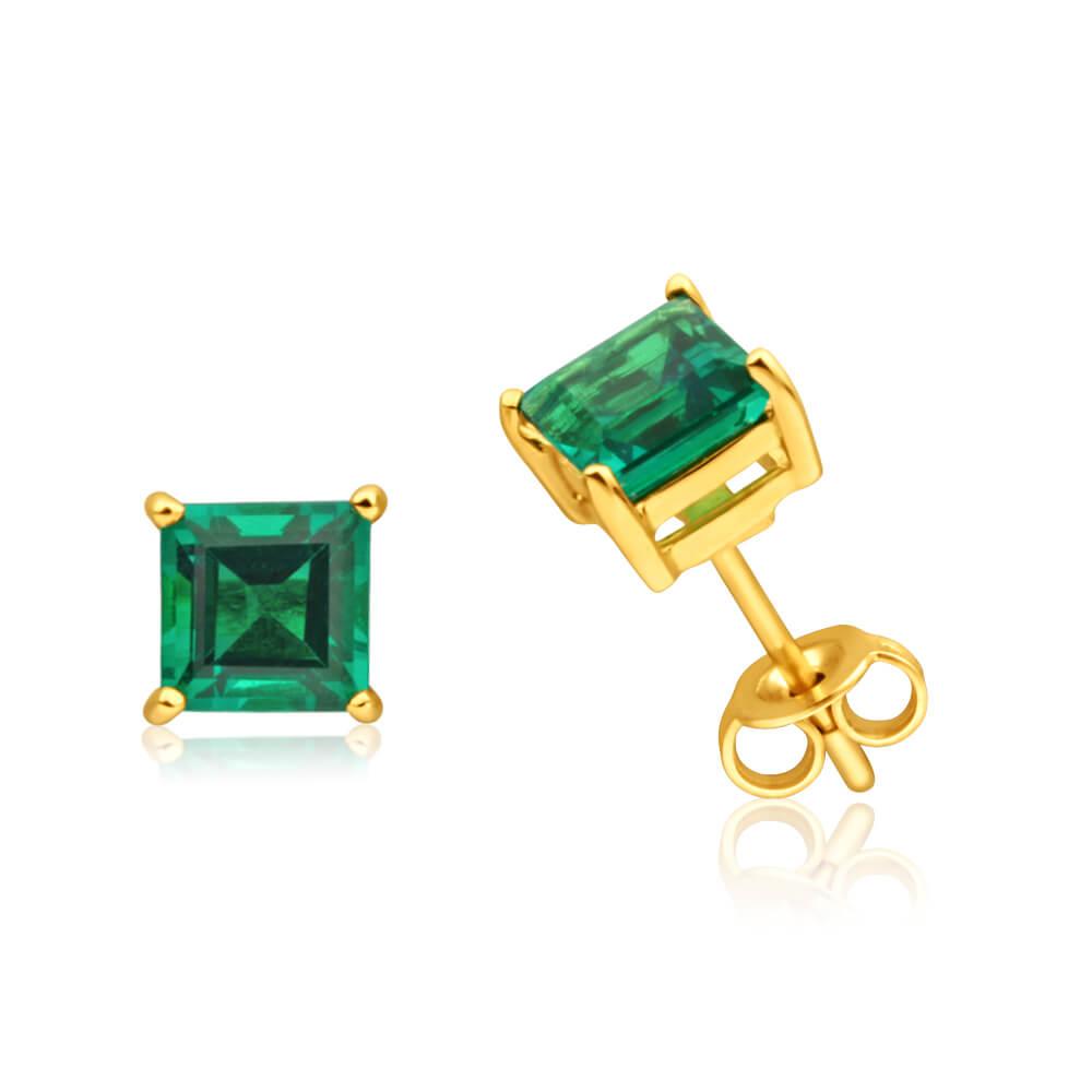 9ct Yellow Gold Created Emerald Stud Earrings