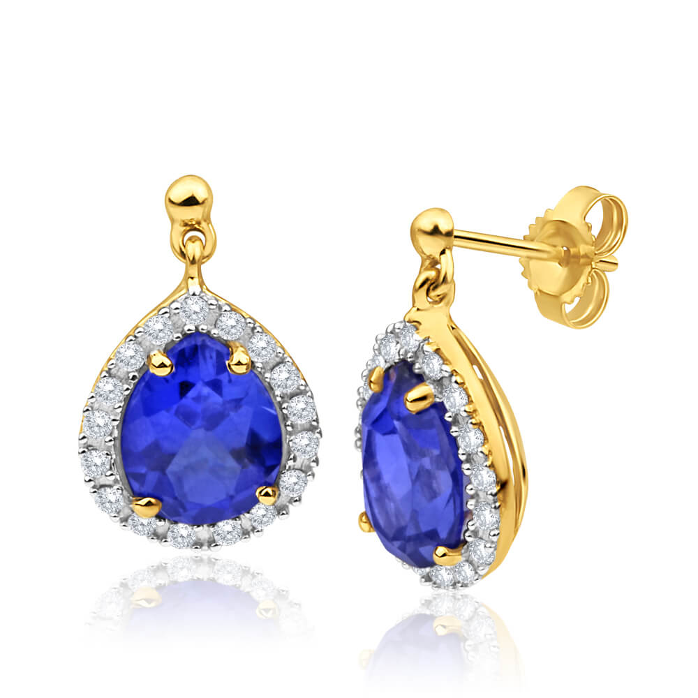 9ct Yellow Gold Created Sapphire + Cubic Zirconia Drop Earrings