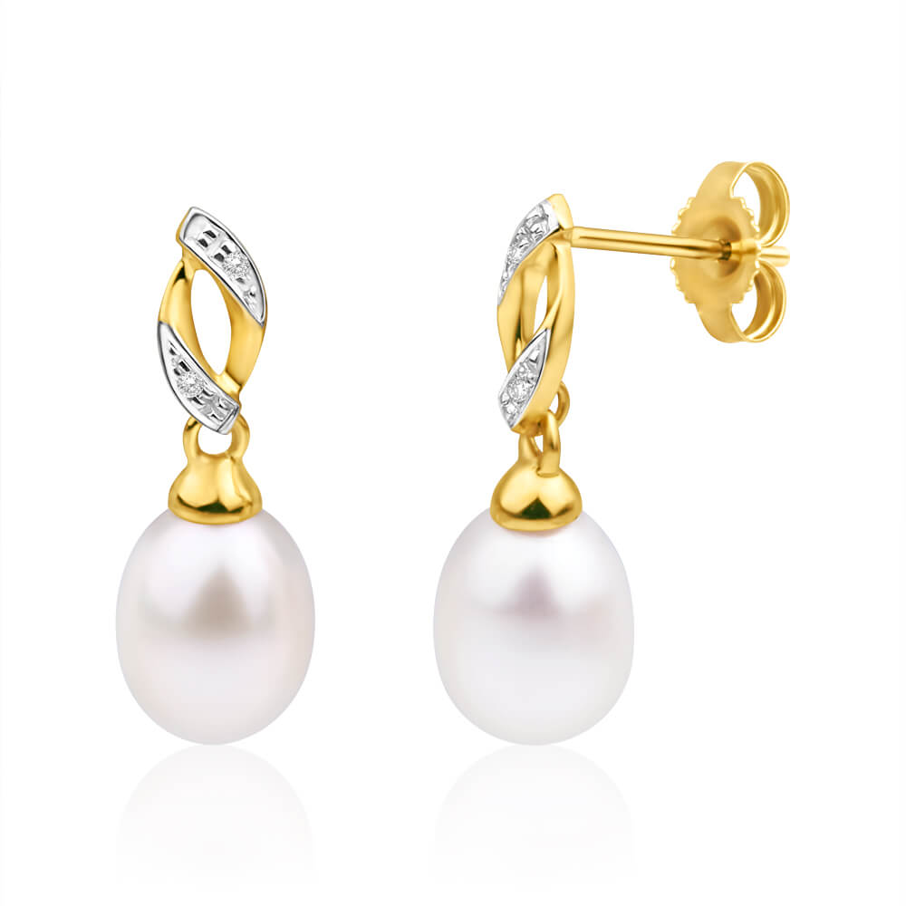 9ct Yellow Gold Freshwater Pearl and Diamond Drop Earrings