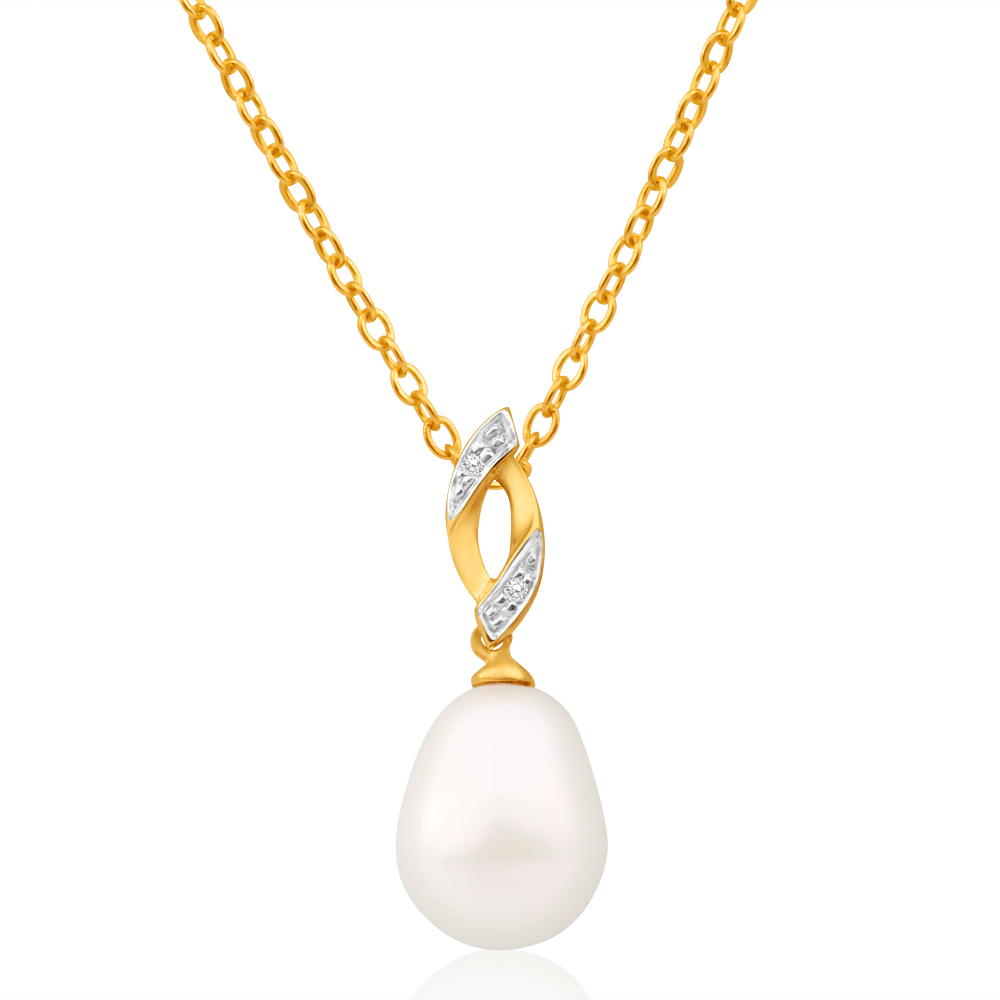 9ct Alluring Yellow Gold Freshwater Pearl and Diamond Pendant