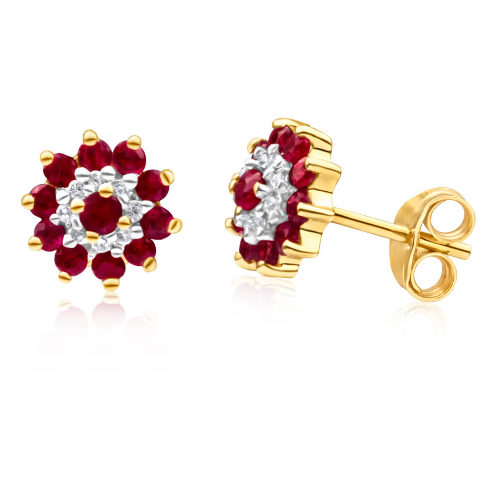 9ct Yellow Gold Natural Ruby and Diamond Flower Cluster Stud Earrings
