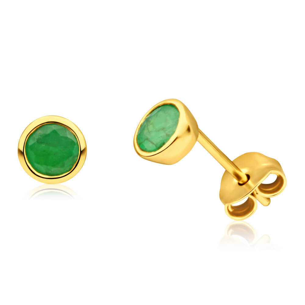 9ct Yellow Gold Alluring Emerald Stud Earrings