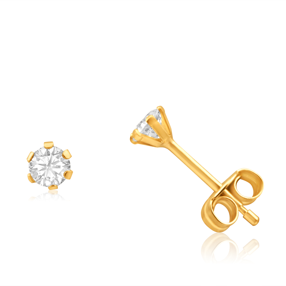 9ct Yellow Gold Cubic Zirconia 3mm 6 Claw Stud Earrings