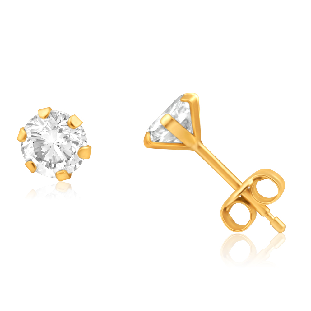9ct Yellow Gold Cubic Zirconia 5mm 6 Claw Stud Earrings