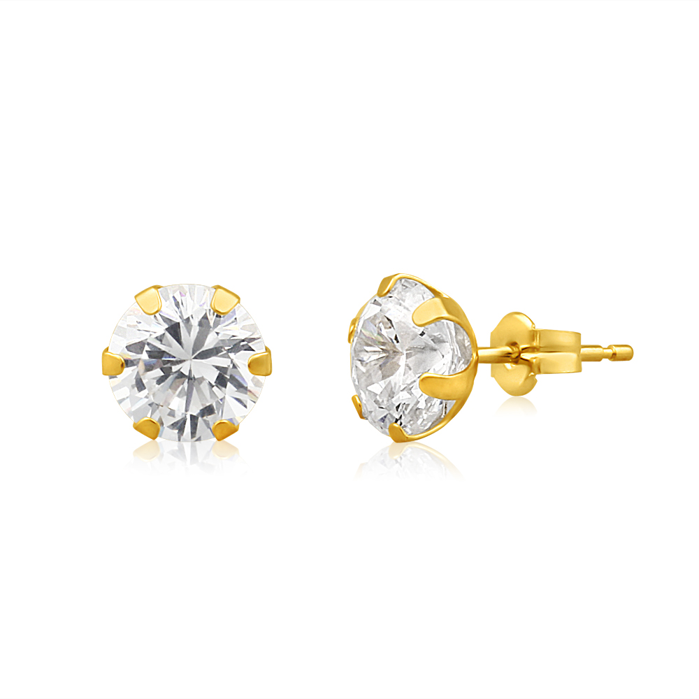 9ct Yellow Gold Cubic Zirconia 7mm 6 Claw Stud Earrings