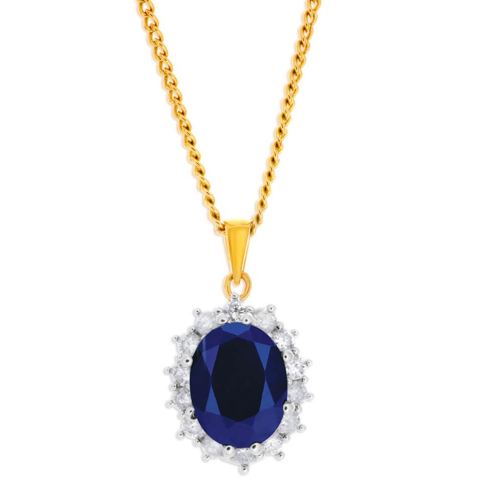 'Princess Kate' 9ct 2.30 Carat Natural Sapphire & 1/2 Carat Diamond Pendant