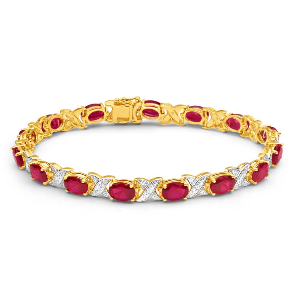 9ct Yellow Gold Created Ruby + Diamond 19CM Bracelet