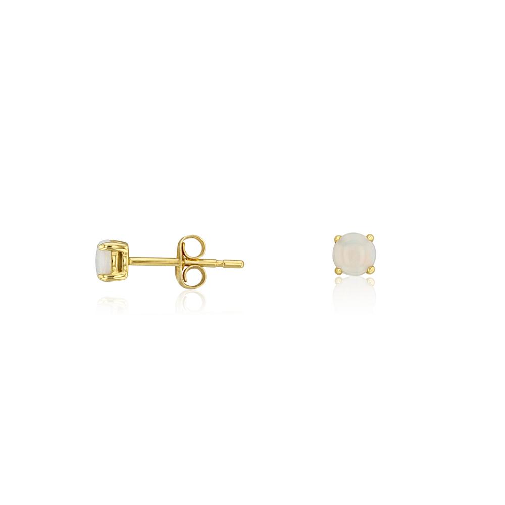 9ct Yellow Gold White Opal 4mm Stud Earrings