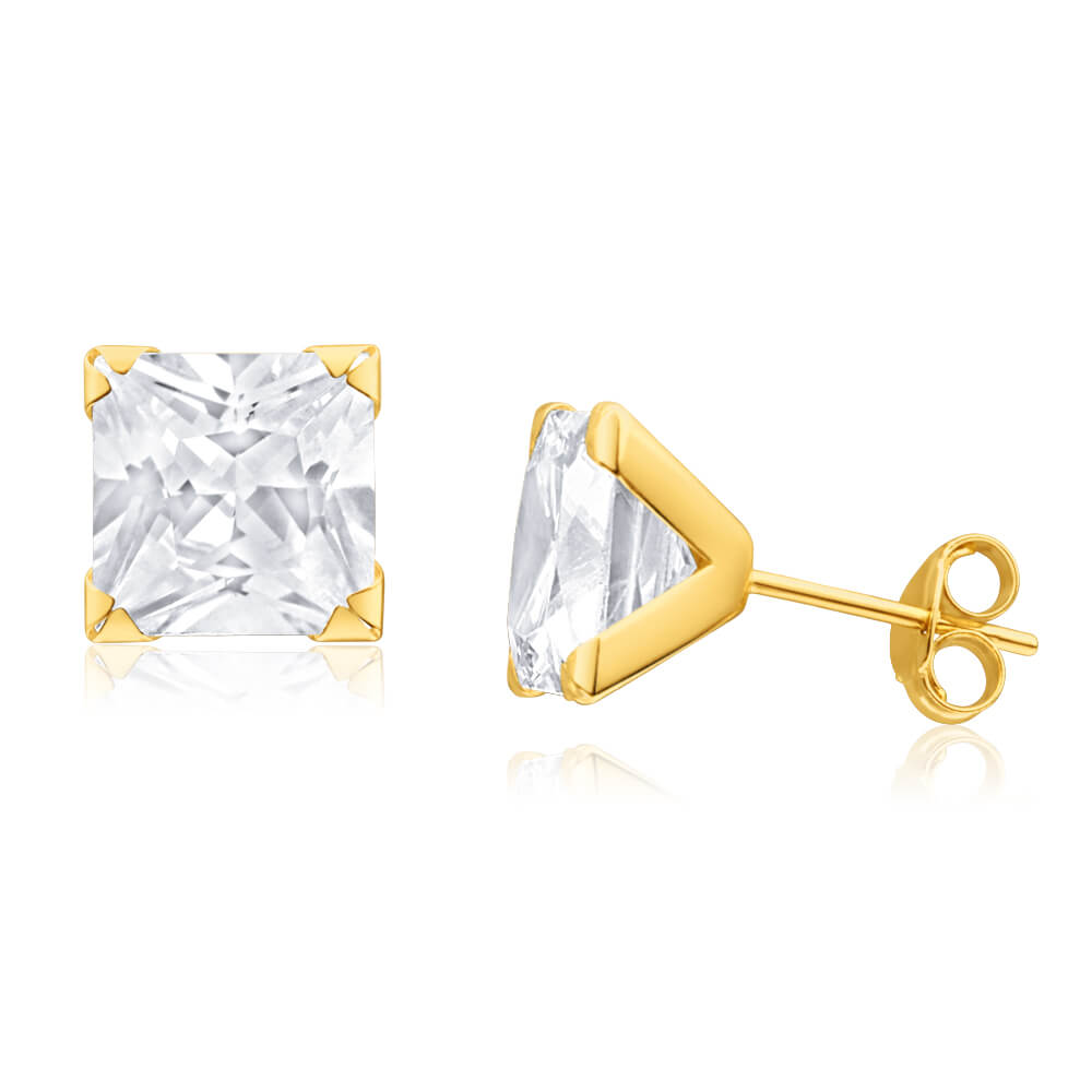 9ct Yellow Gold Cubic Zirconia 8mm Princess Stud Earrings
