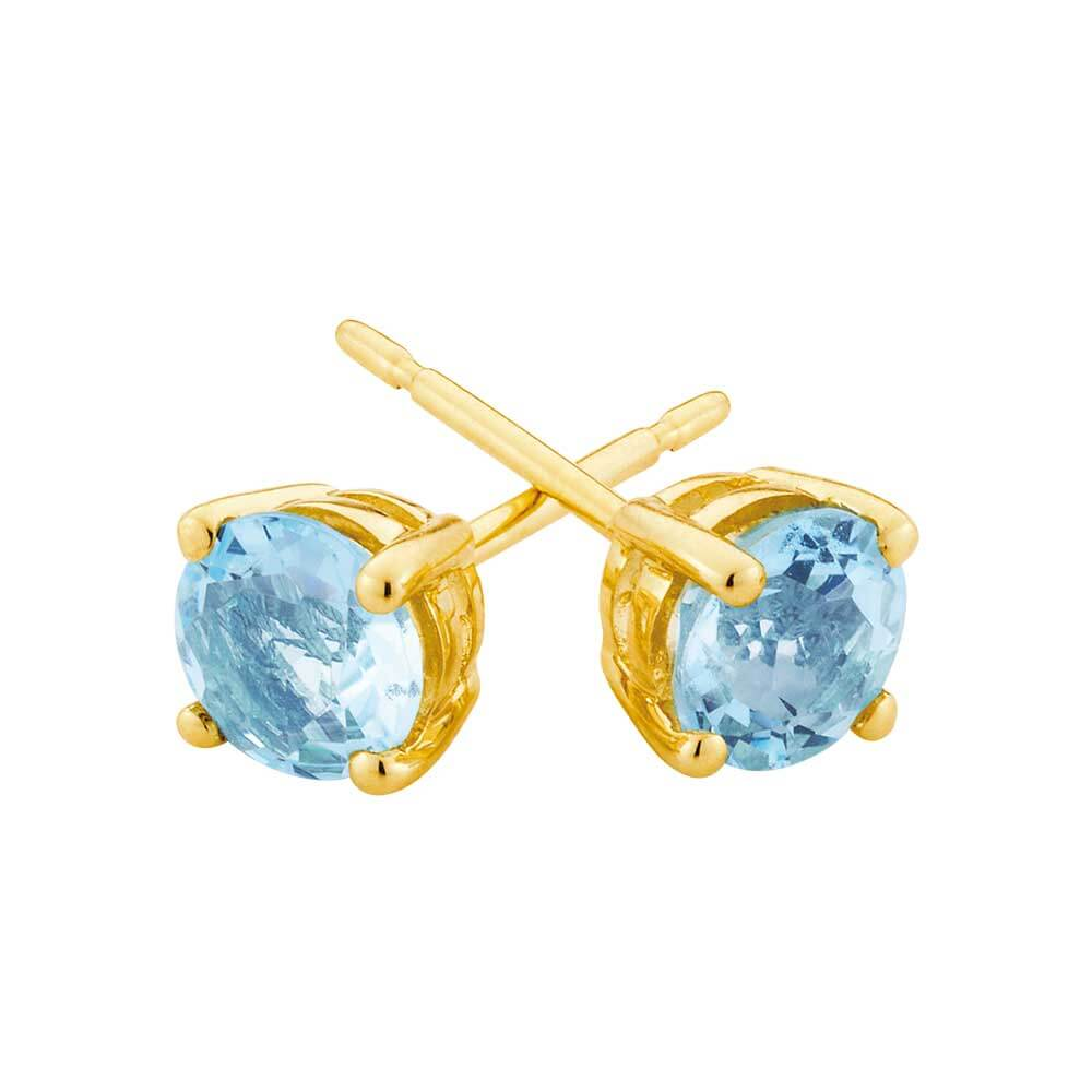 9ct Yellow Gold Aquamarine Stud Earrings
