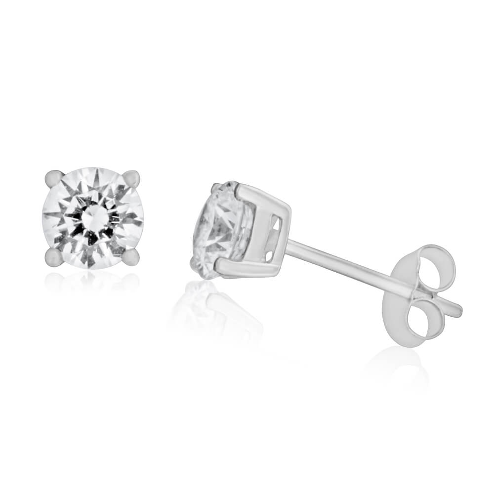 9ct White Gold Cubic Zirconia 5mm Stud Earrings