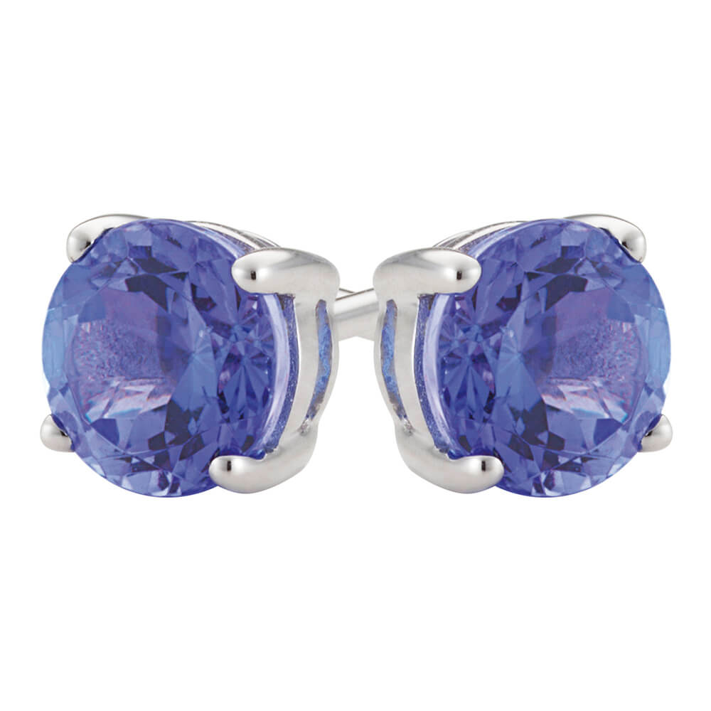 9ct White Gold Tanzanite 5mm Stud Earrings