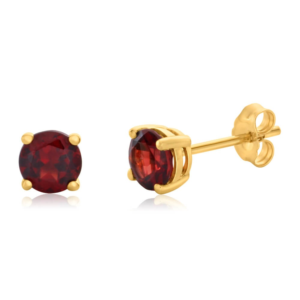 9ct Yellow Gold Garnet 5mm Stud Earrings