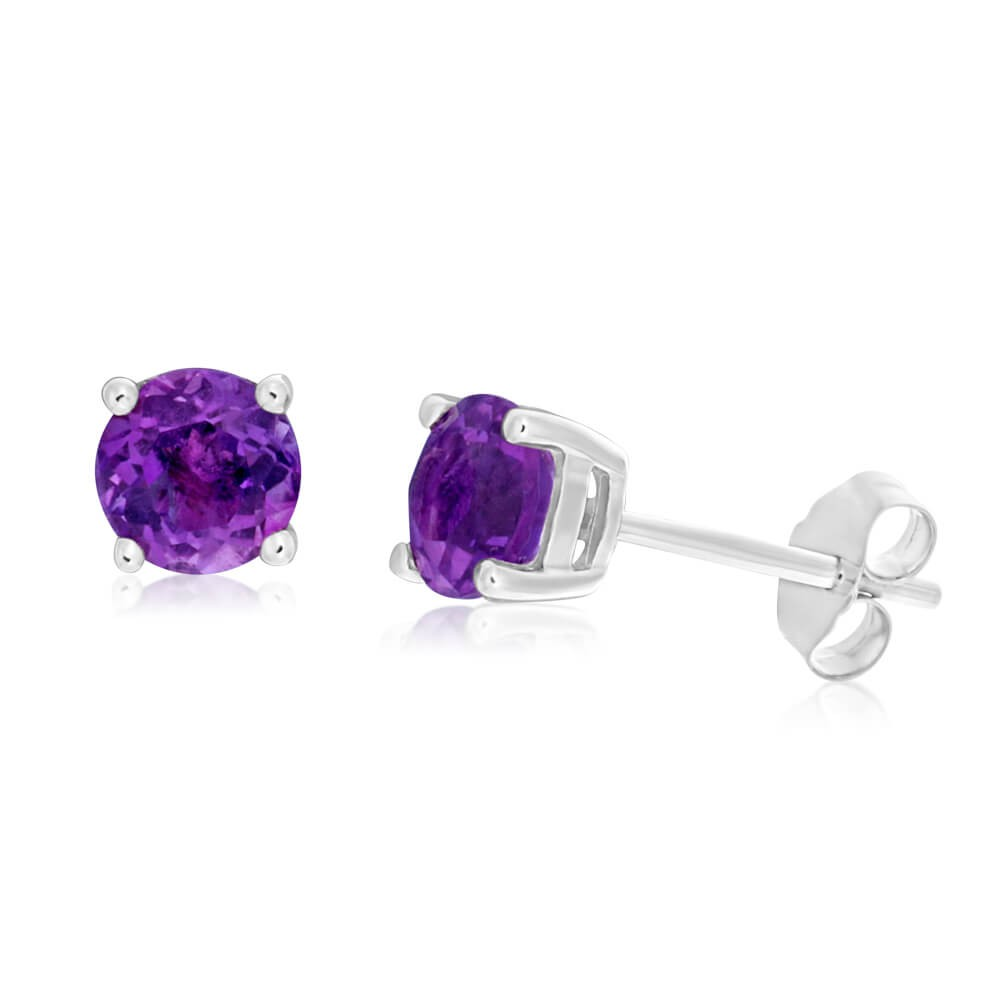 9ct White Gold Amethyst 5mm Stud Earrings