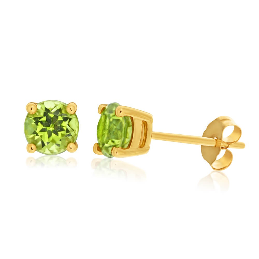 9ct Yellow Gold Peridot 5mm Stud Earrings