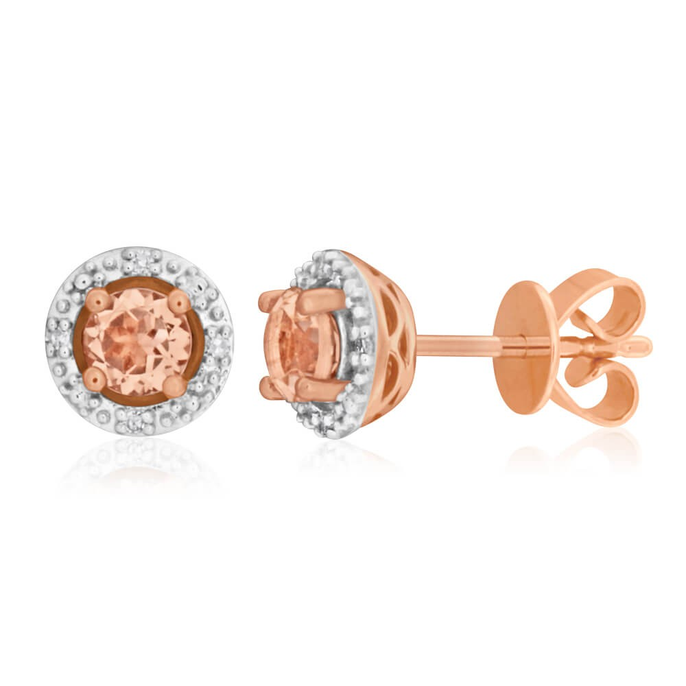 9ct Rose Gold Diamond + Morganite Stud Earrings